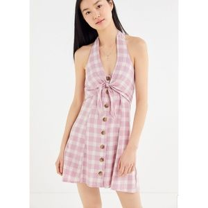Urban Outfitters Parma Tie Halter Linen Dress